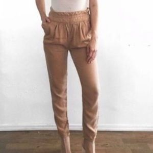 Aritzia Wilfred Casbah Paperbag Pants in tan